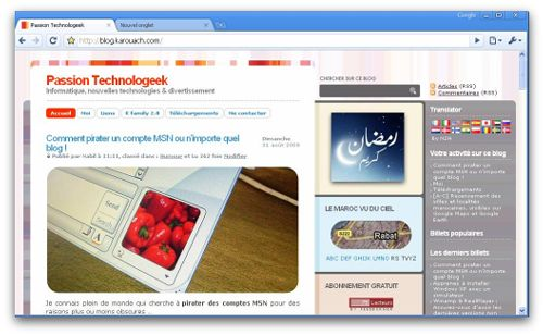 pt chrome Mon blog s&#039;affiche correctement sur Google Chrome