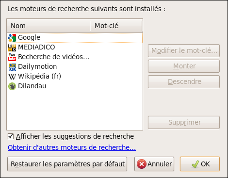 Capture Grer la liste des moteurs de recherche 2 Mettre de lordre dans les moteurs de recherche de Firefox